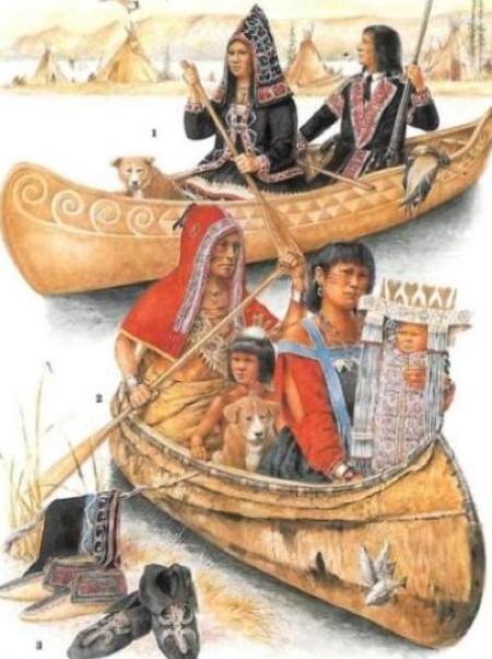 Algonchini in navigazione lungo un fiume