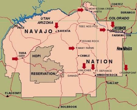 Una mappa della grande riserva dei Navajo